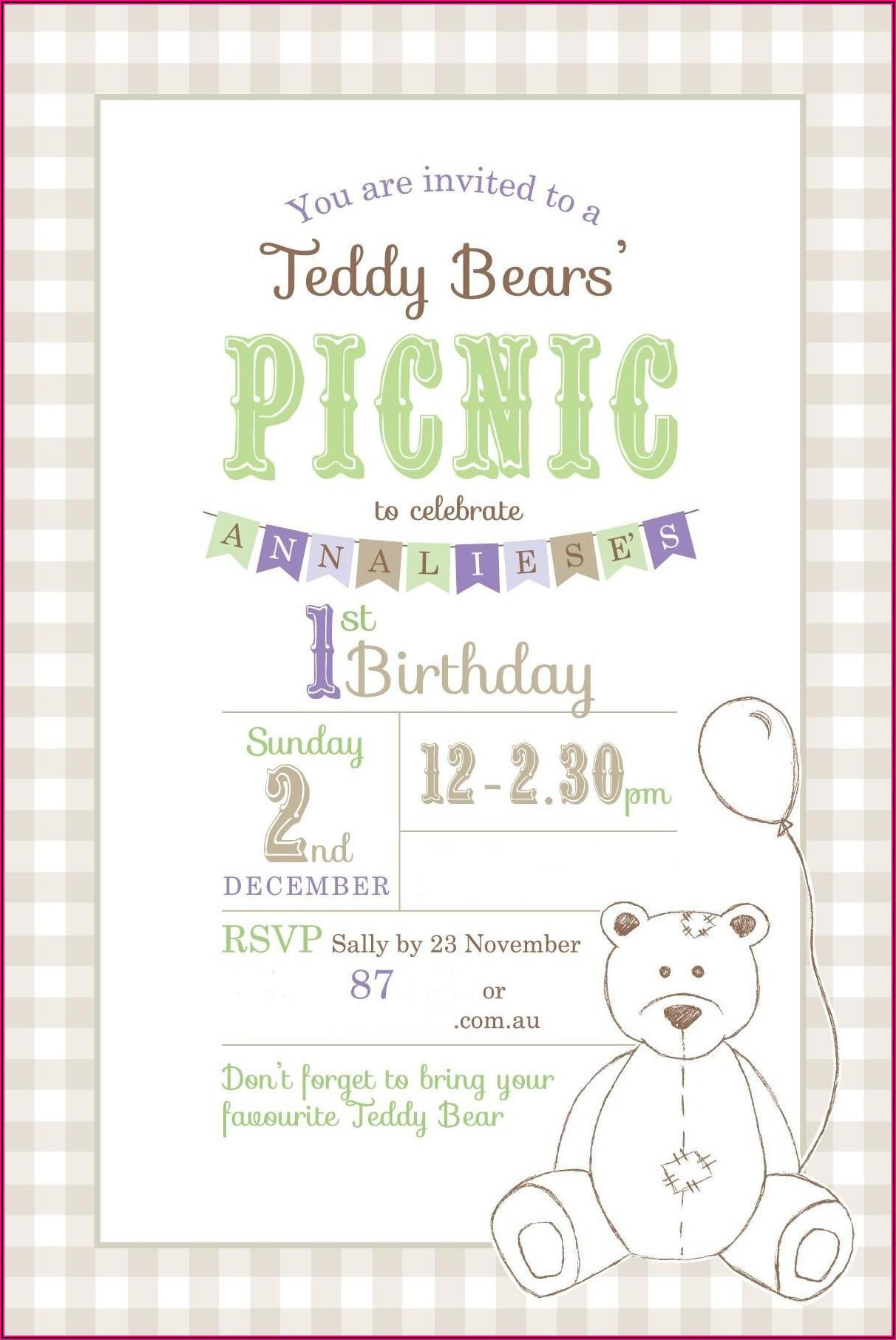 Teddy Bear Picnic Party Invite Template