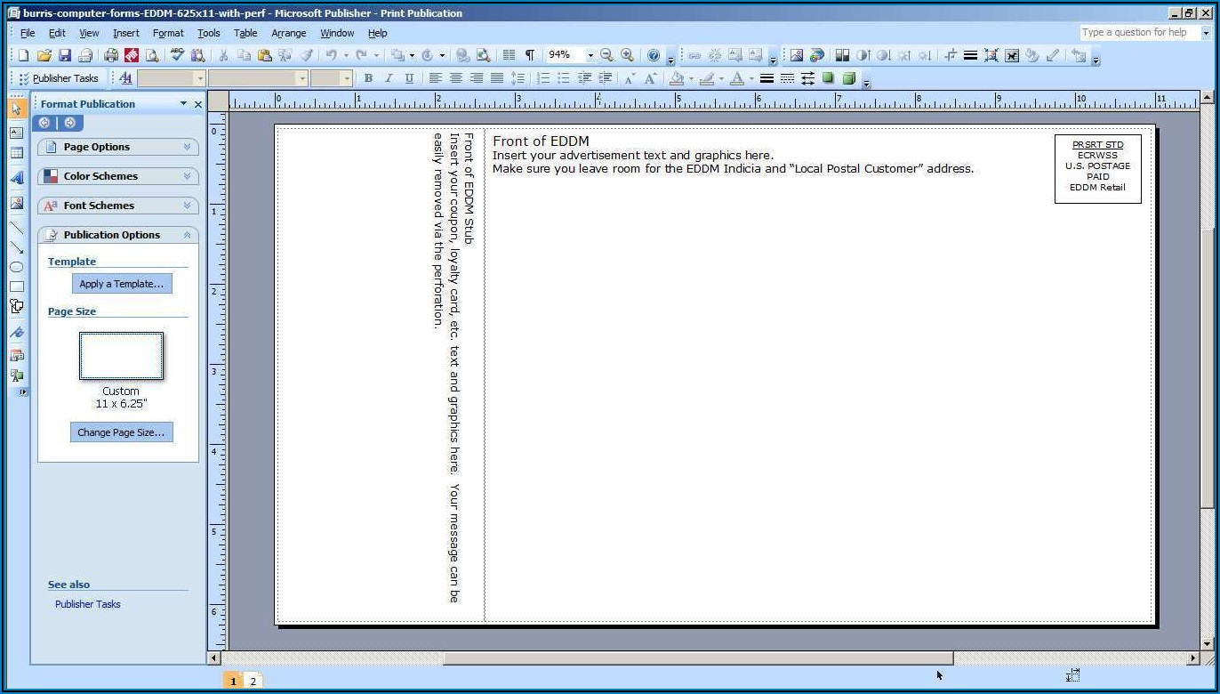 Template For Postcard In Word