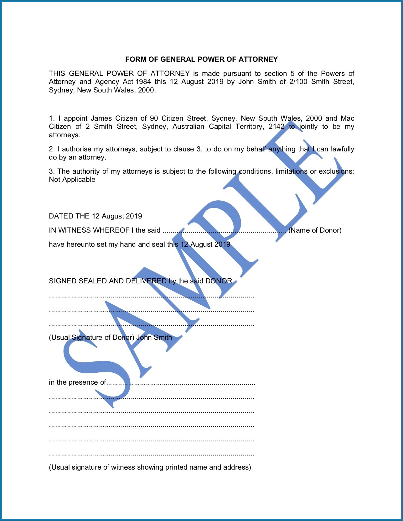 Template For Power Of Attorney Australia
