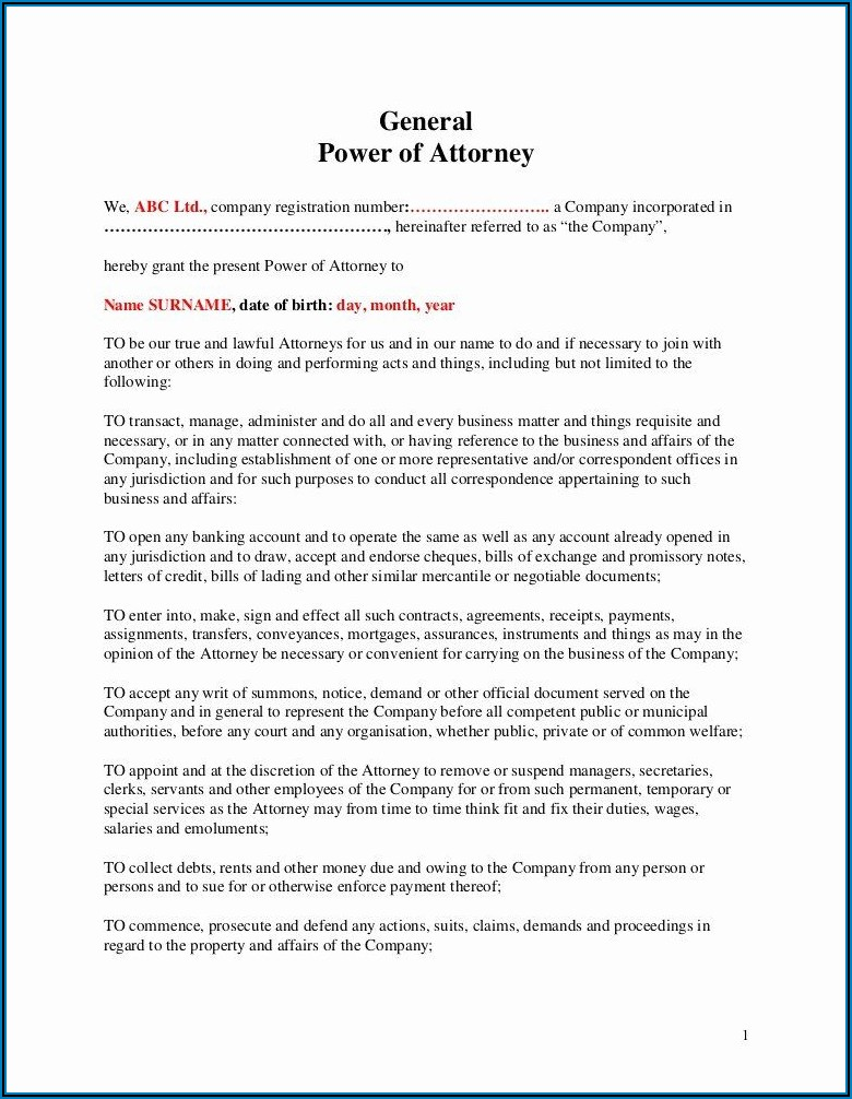 Template For Power Of Attorney India