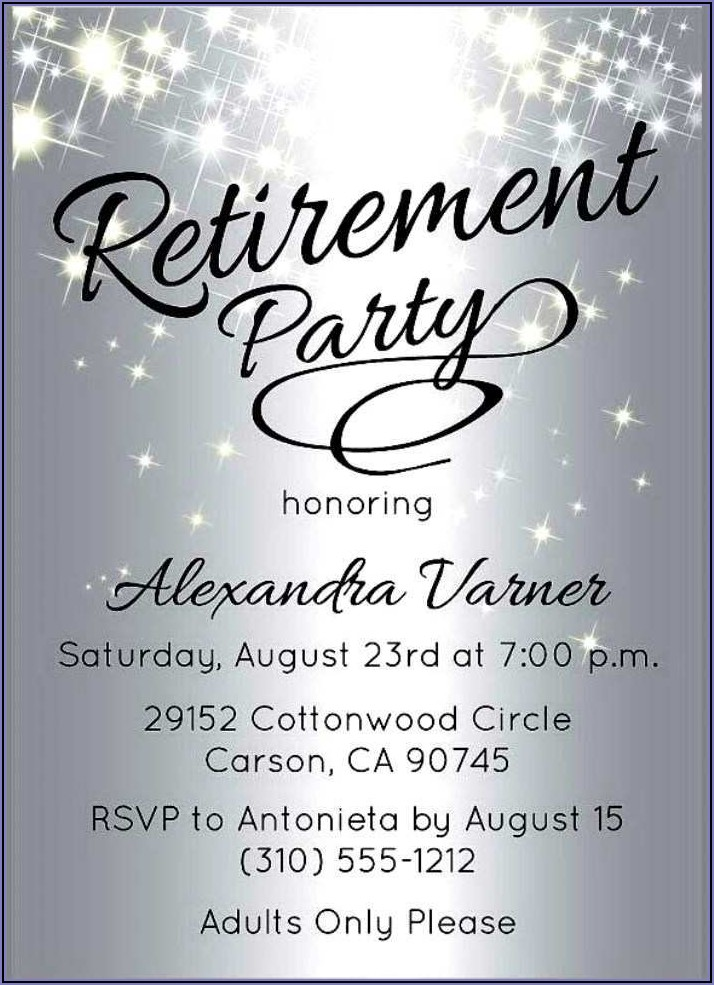 Template For Retirement Party Invitation