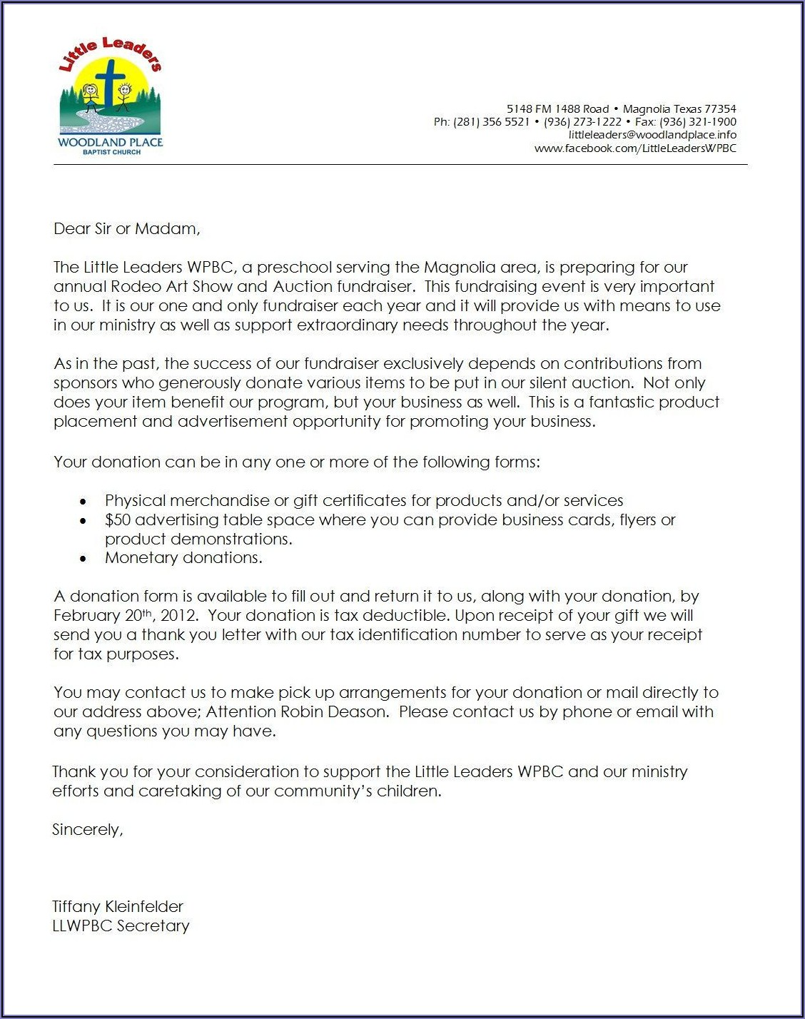 Template Letter For Donations
