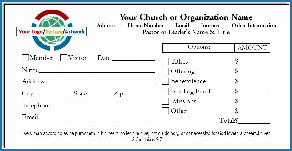 Tithes And Offering Envelope Template