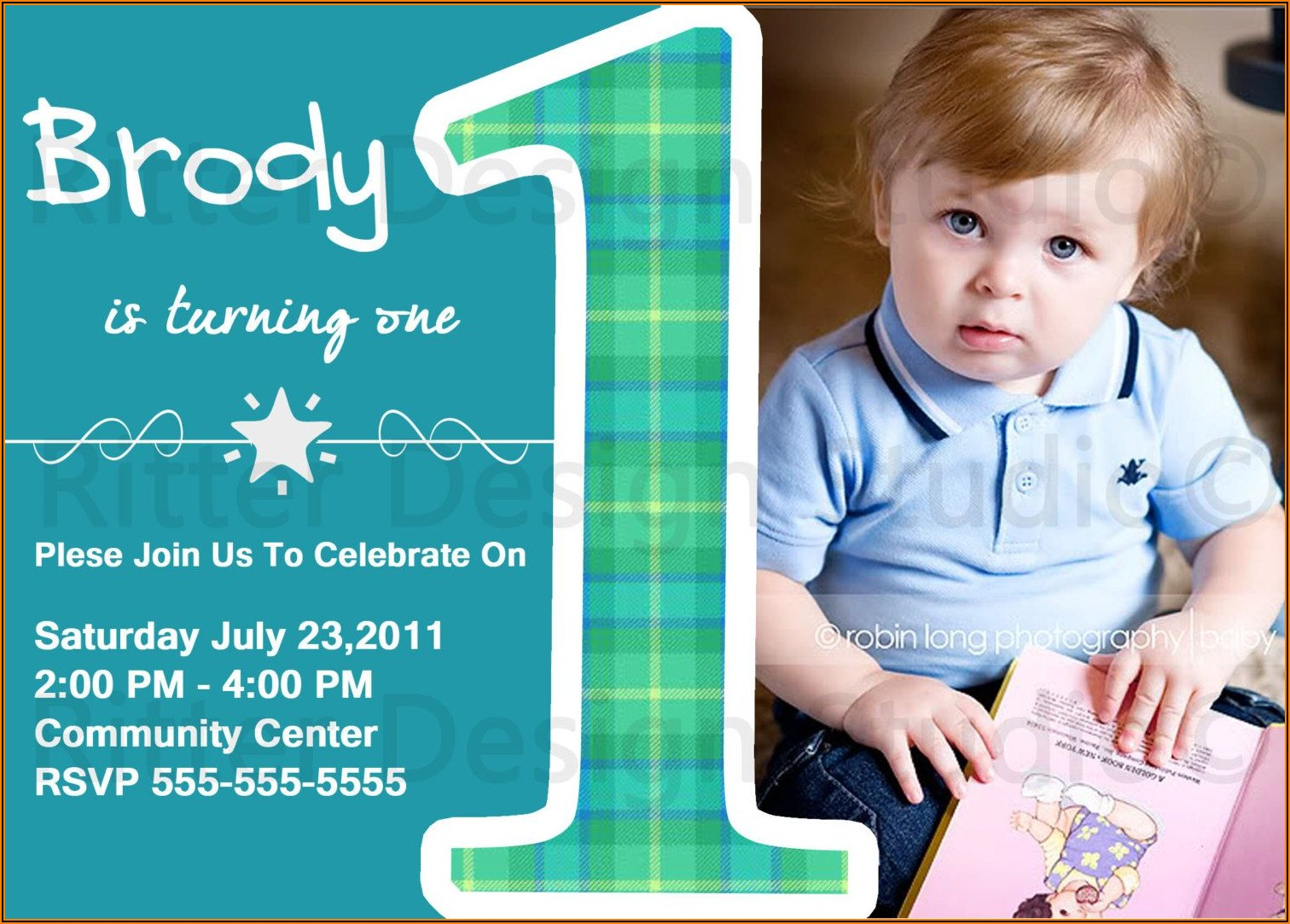 Twin Baby 1st Birthday Invitation Card
