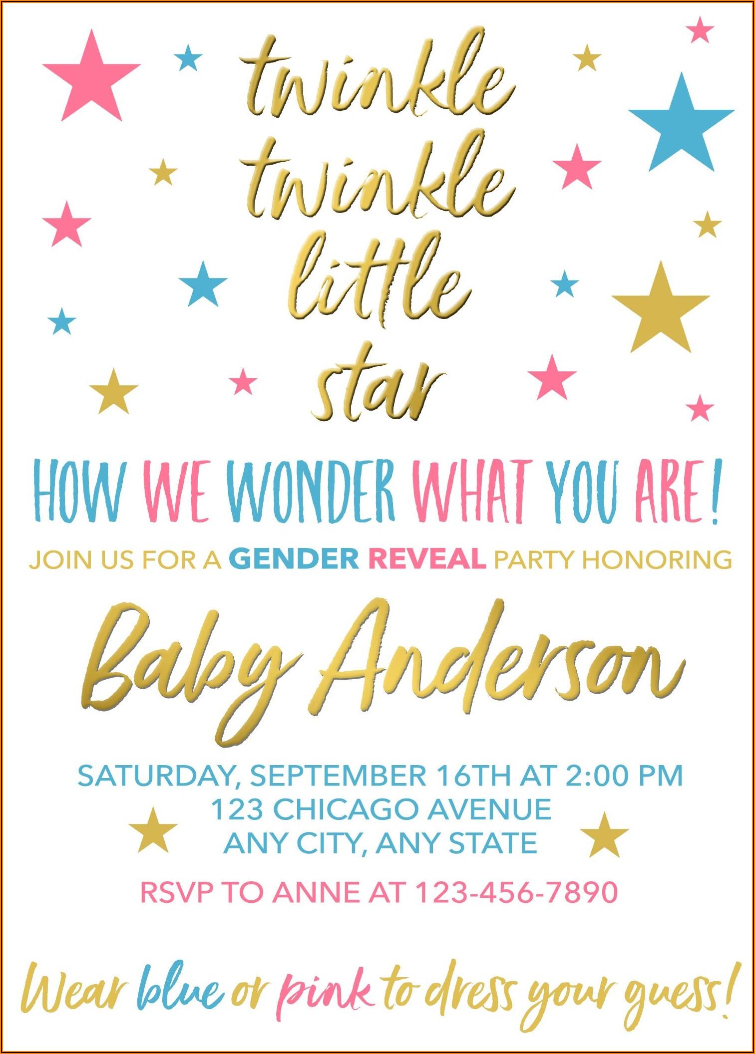 Twinkle Twinkle Little Star Gender Reveal Invitations Free