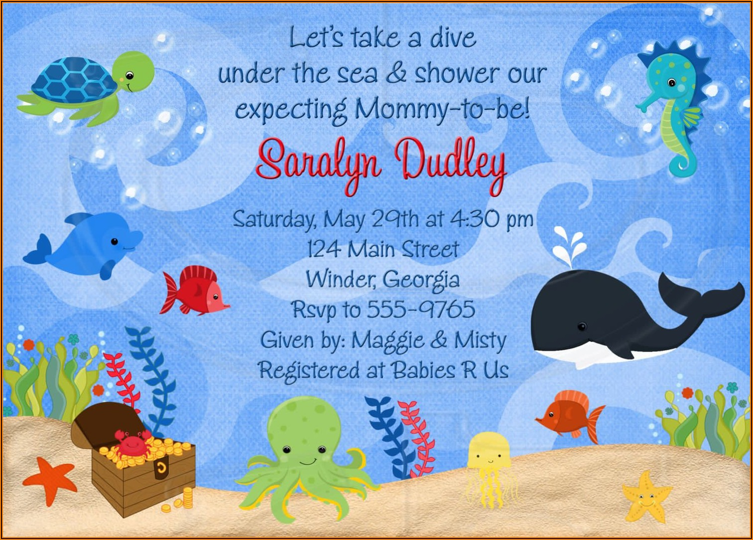Under The Sea Baby Shower Invitations Templates