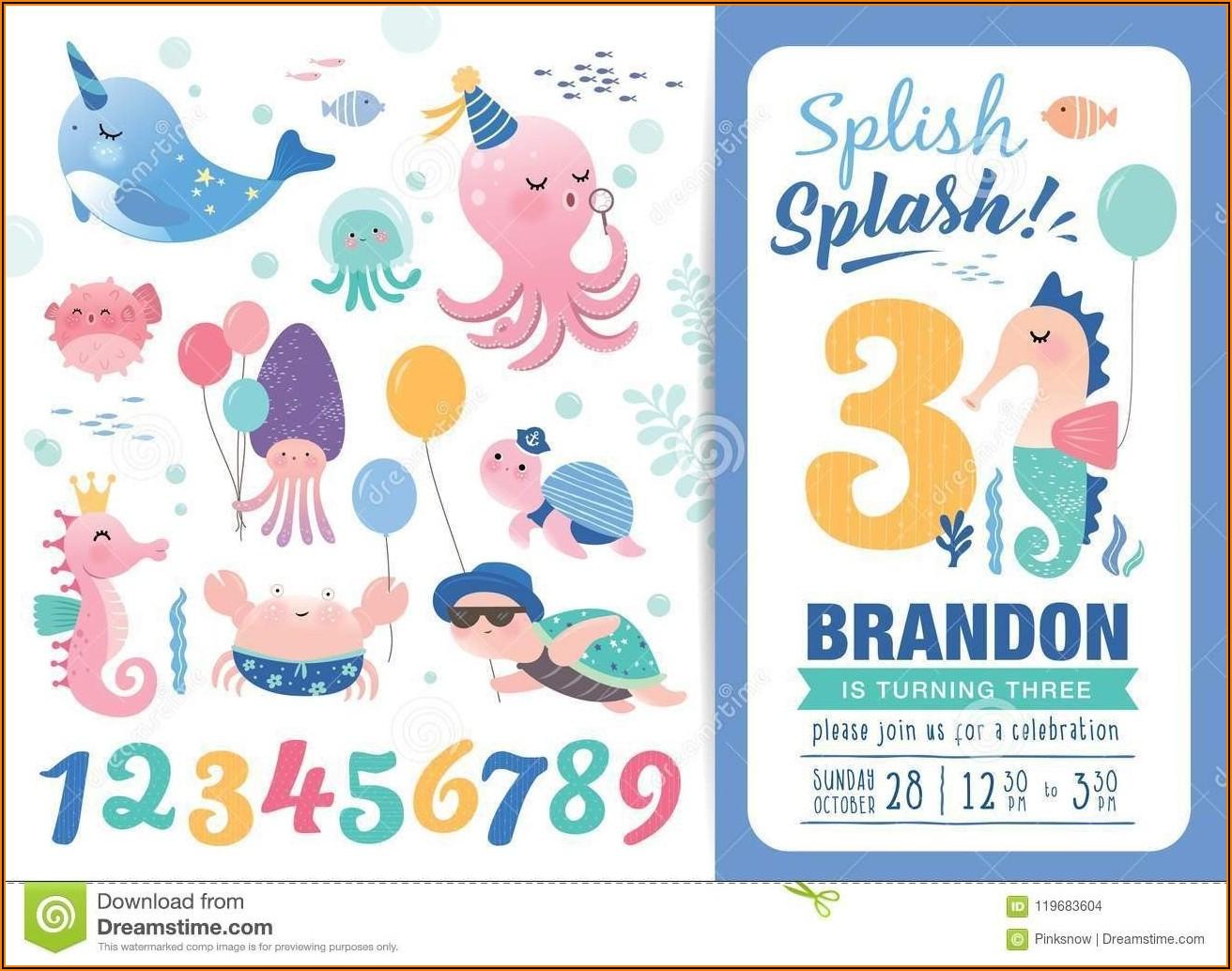 Under The Sea Birthday Party Invitation Template