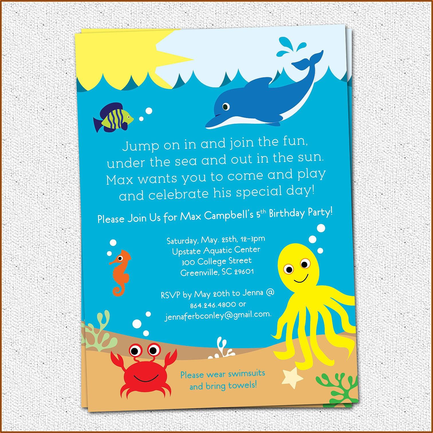 Under The Sea Theme Invitation Template