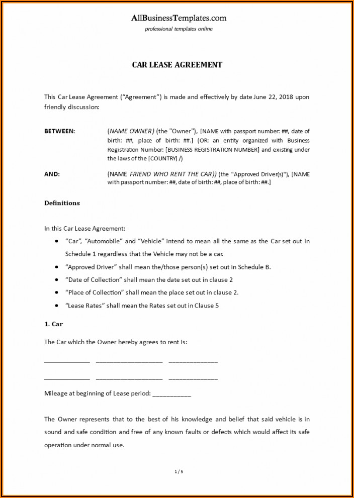 Vehicle Lease Agreement Contract Template