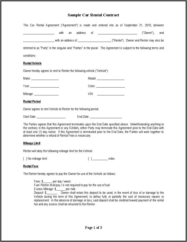 Vehicle Lease Contract Sample