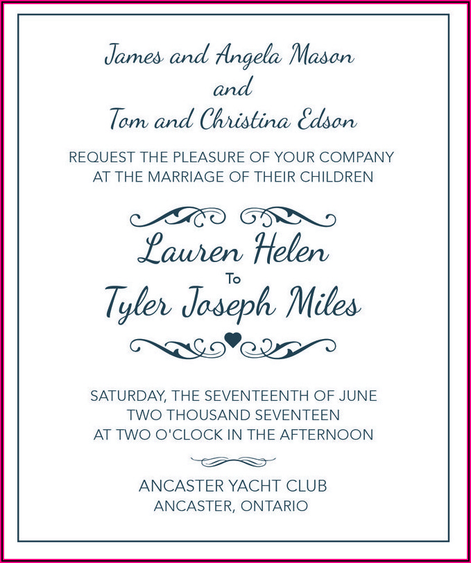 Wedding Invitation Wording Couple And One Set Of Parents Hosting