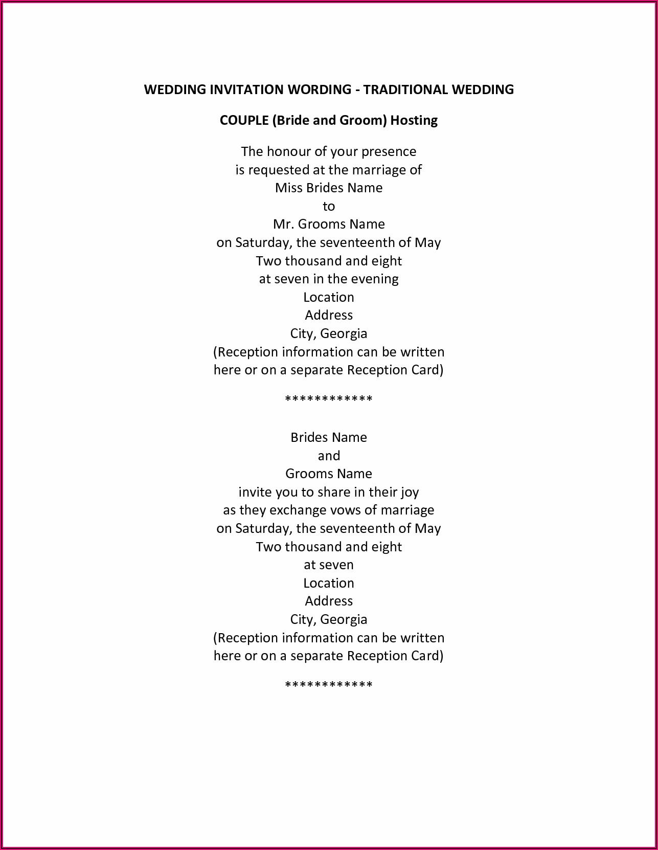 Wedding Invitation Wording Couple Hosting Formal