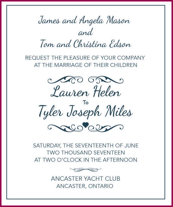 Wedding Invitation Wording Samples Bride And Groom Hosting