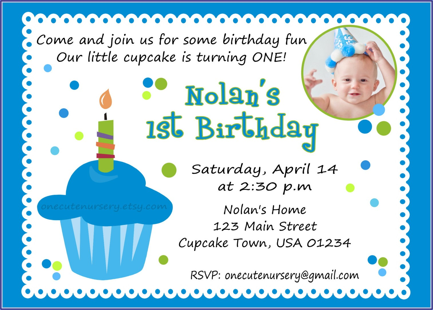 1st Birthday Invitation Card Blank Template