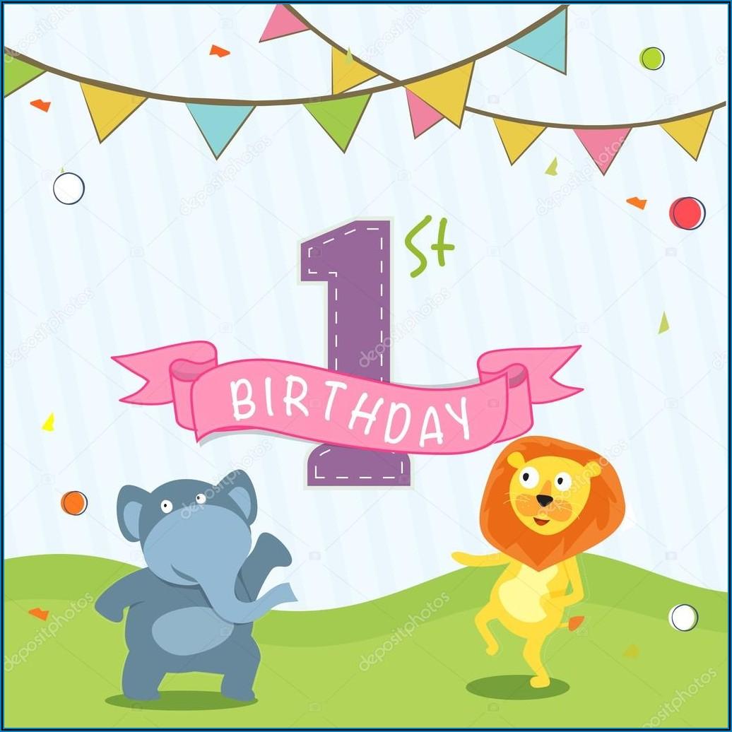 1st Birthday Invitation Card Design Vector