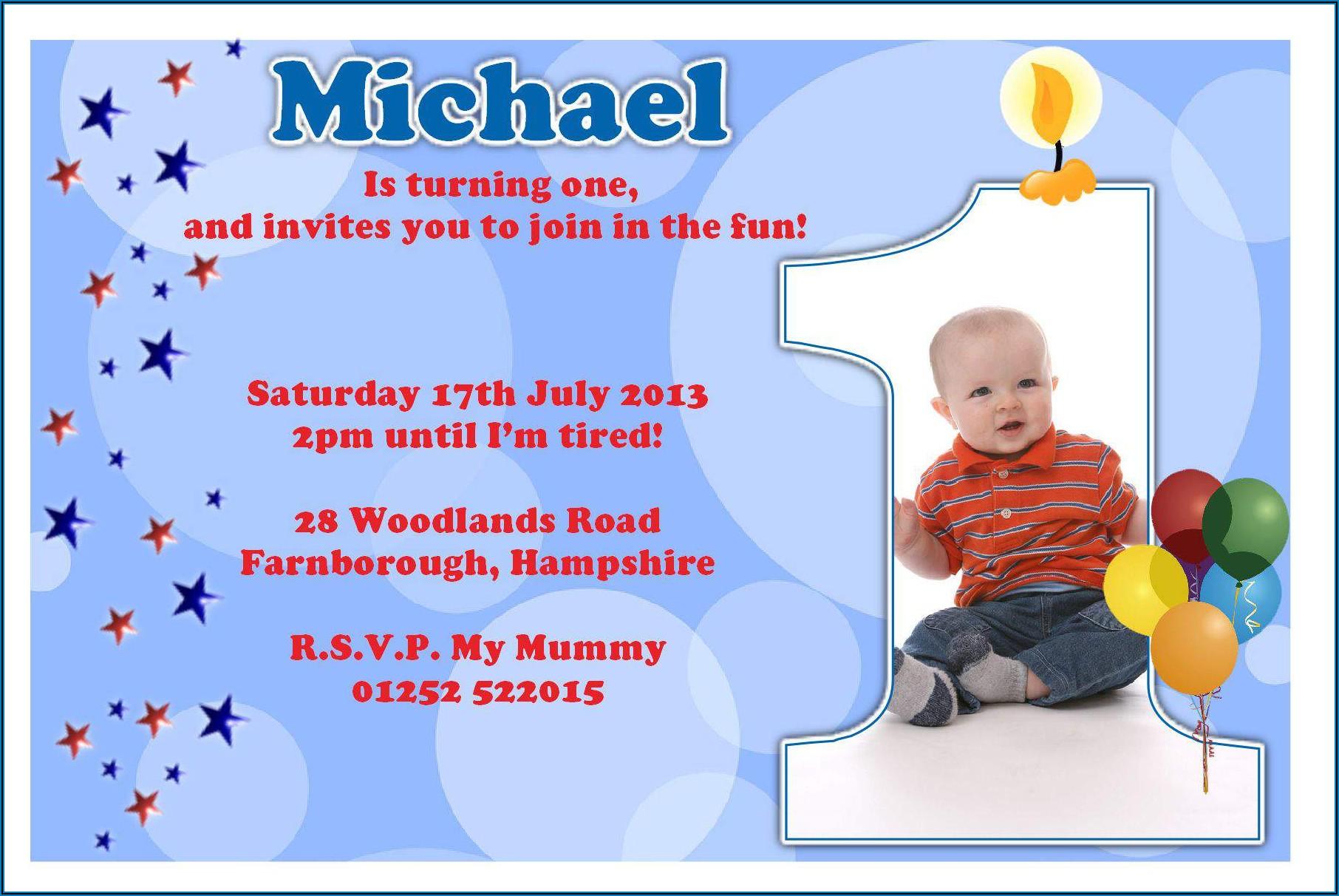 1st Birthday Invitation Card For Baby Boy In English