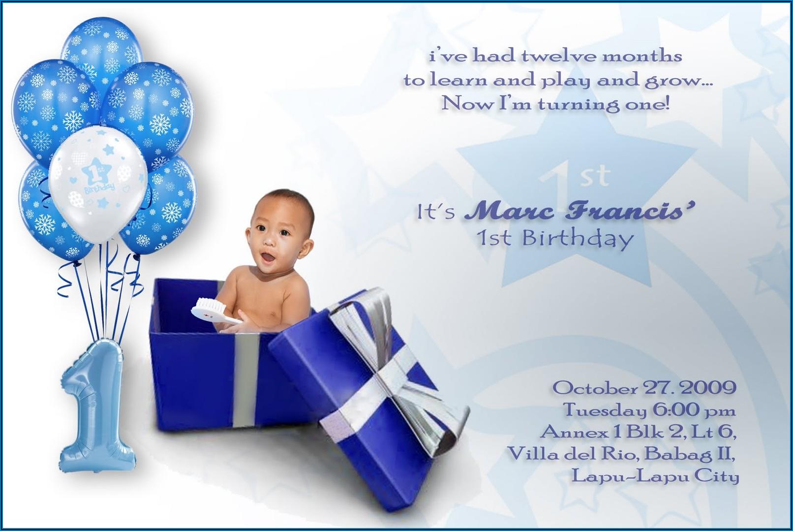 1st Birthday Invitation Card For Baby Boy Wording
