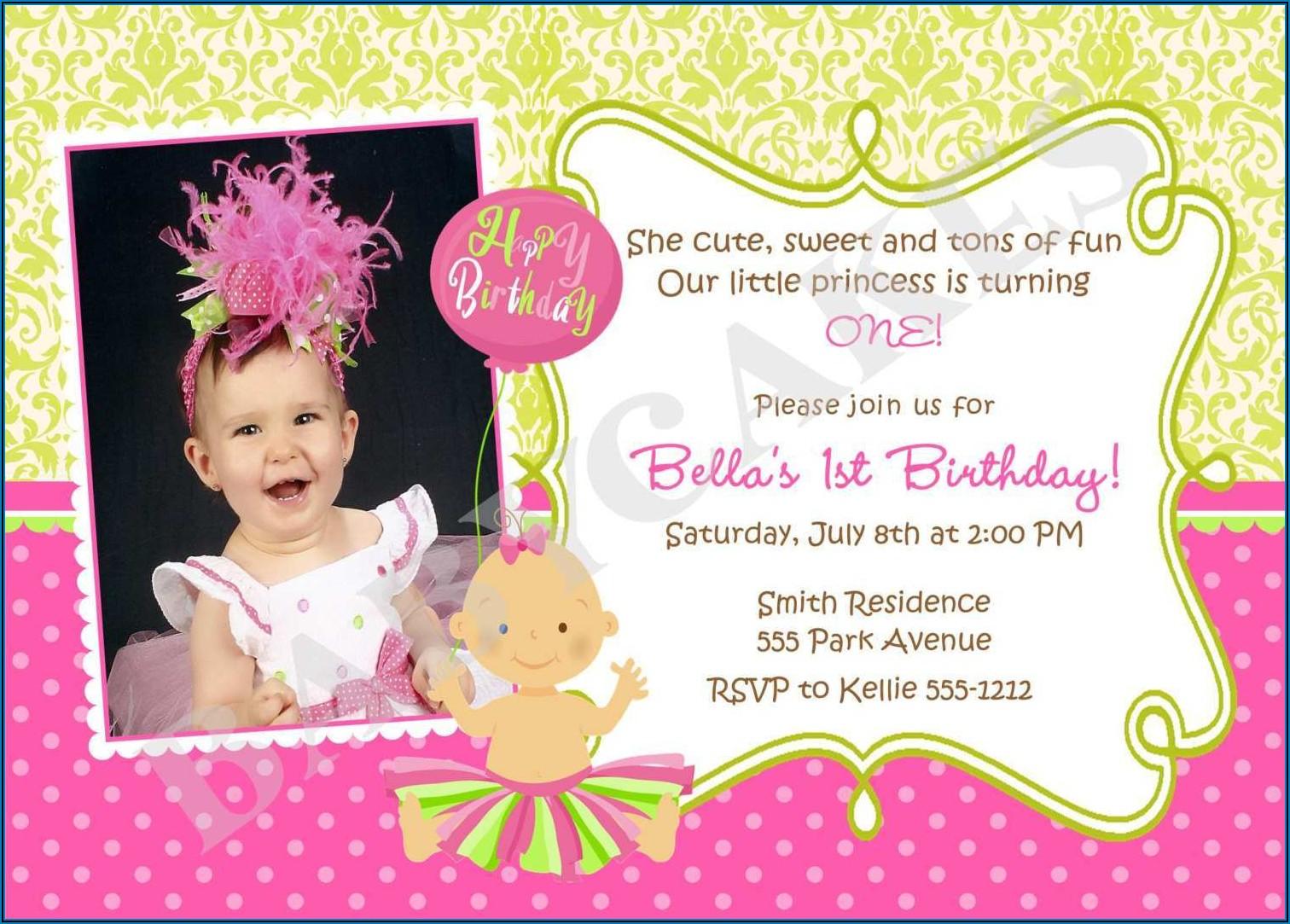 1st Birthday Invitation Card For Baby Girl Psd