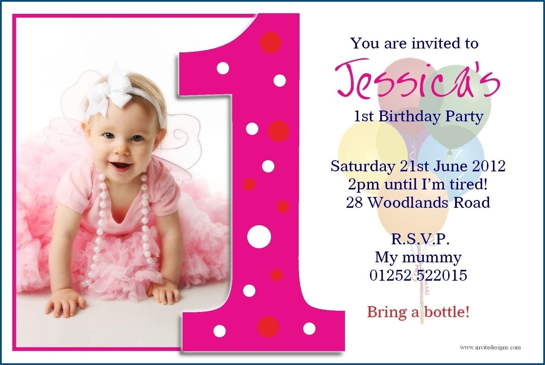 1st Birthday Invitation Card For Baby Girl Vector