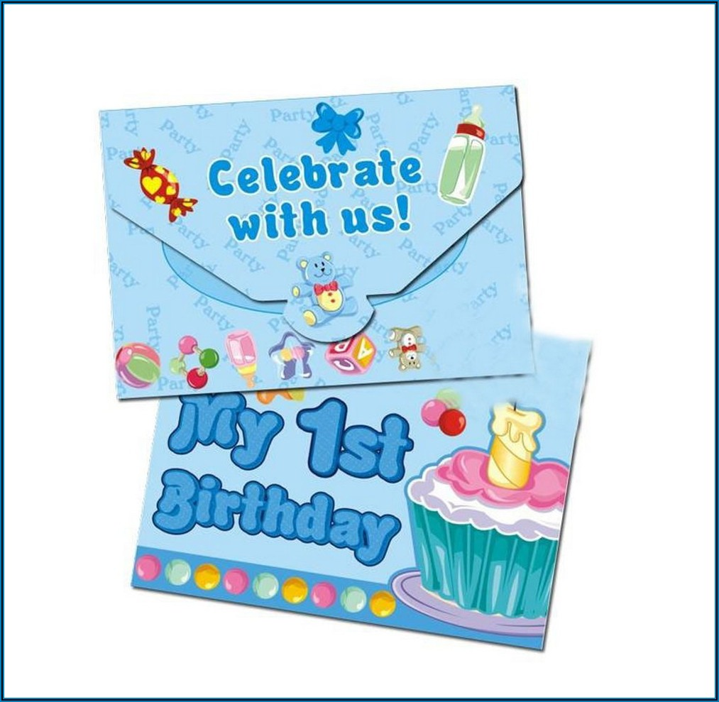 1st Birthday Invitation Card Template For Baby Boy