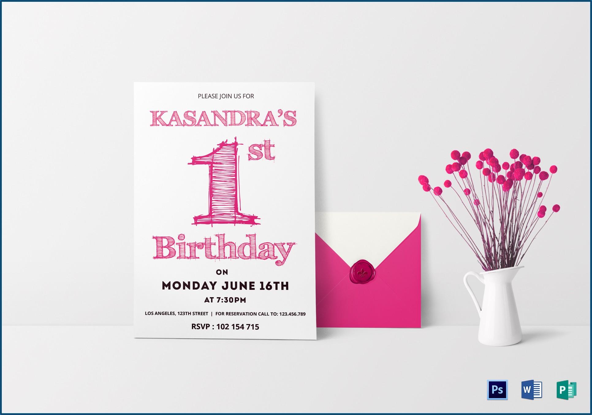 1st Birthday Invitation Card Template Psd