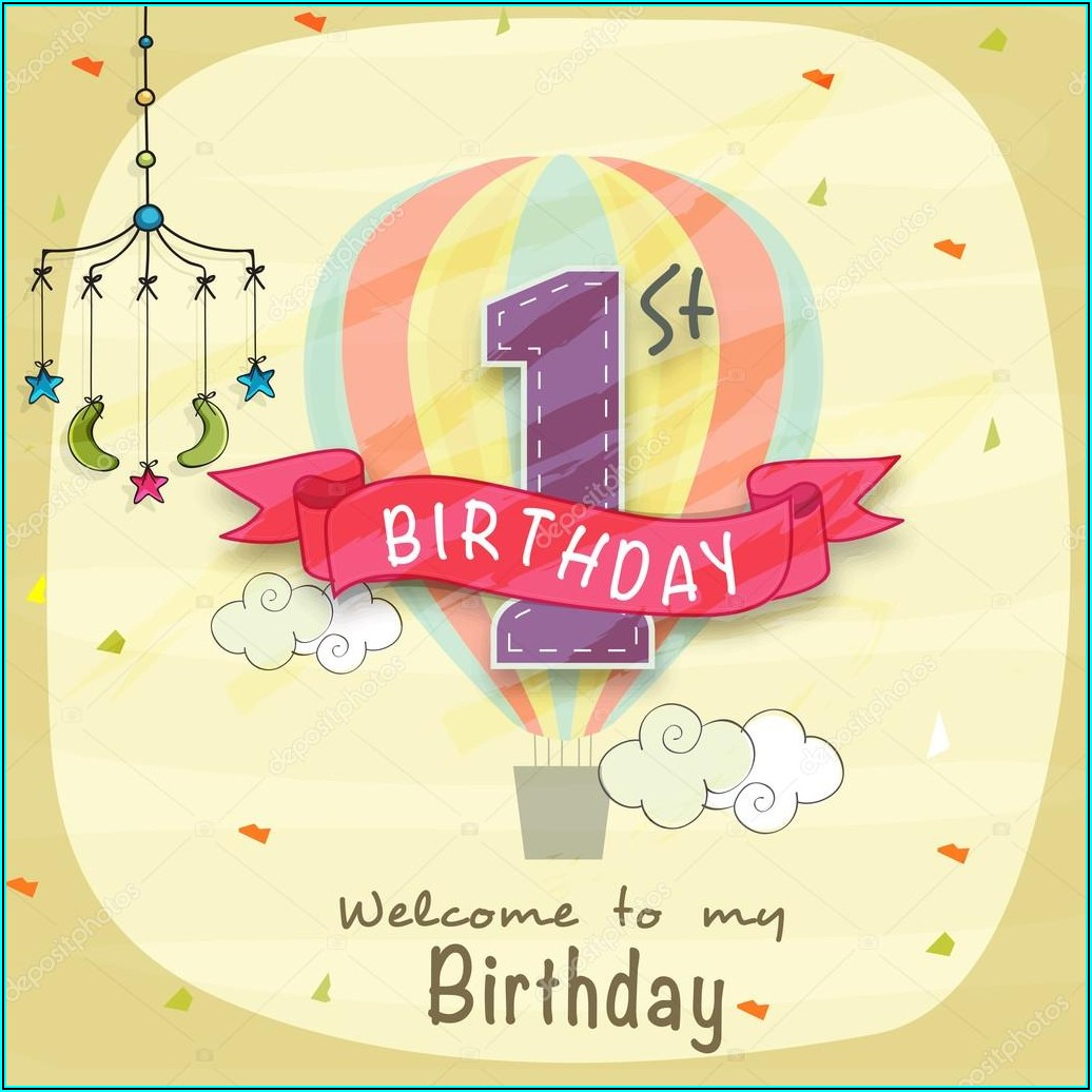 1st Birthday Invitation Card Vector Free Download