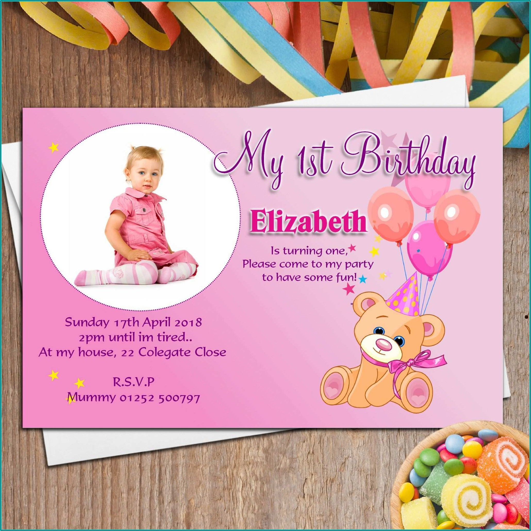 1st Birthday Invitation Cards Psd Files Free Download