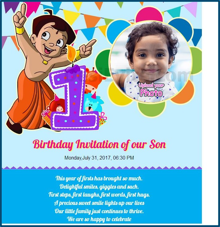 1st Birthday Invitation Message For Boy