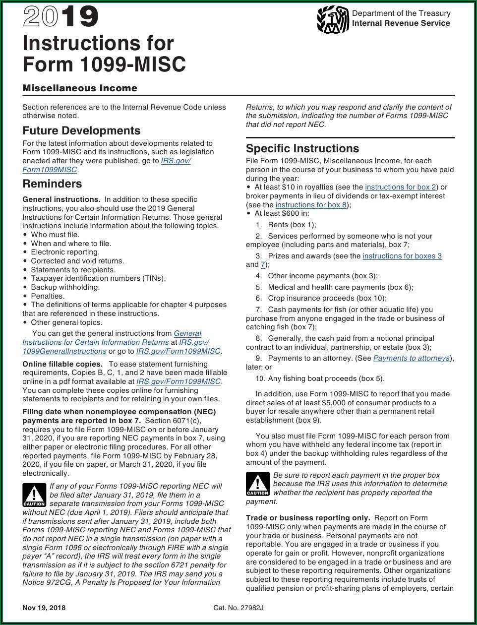 2019 Form 1099 Misc Instructions Pdf