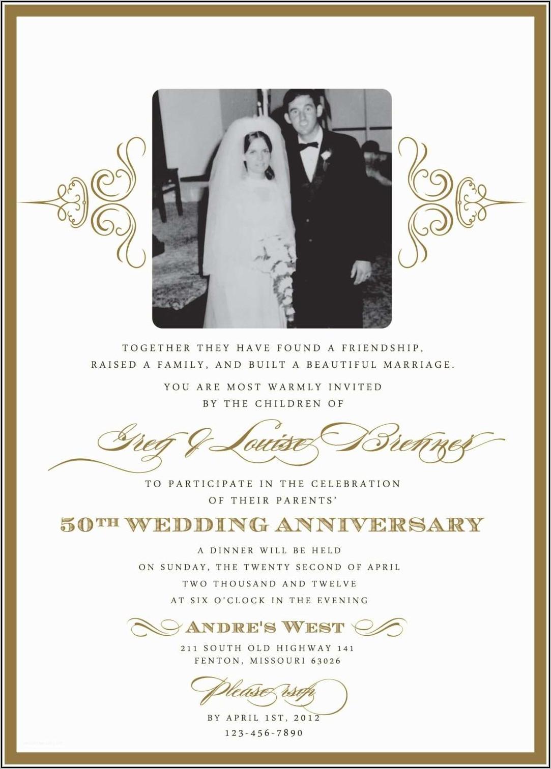 50th Wedding Anniversary Party Invitation Templates