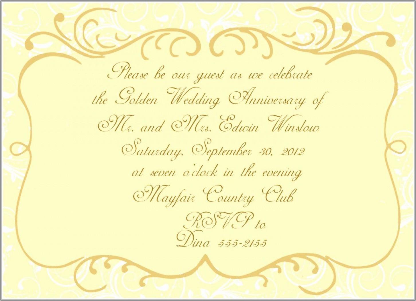 50th Wedding Invitation Templates