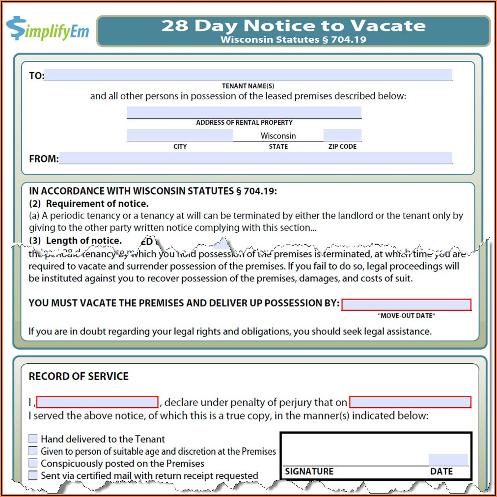60 Day Eviction Notice Template