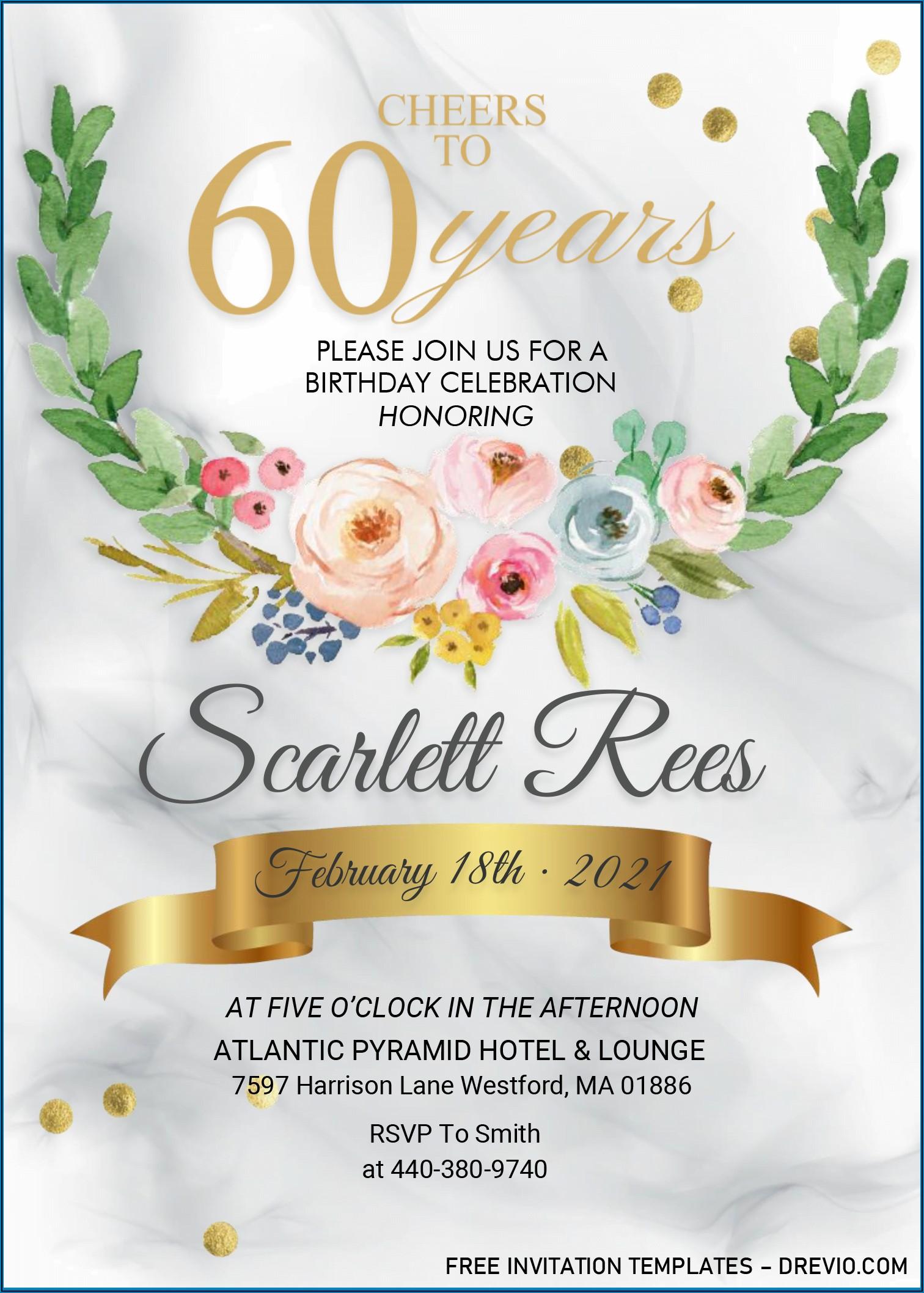 60th Birthday Invitation Designs Free