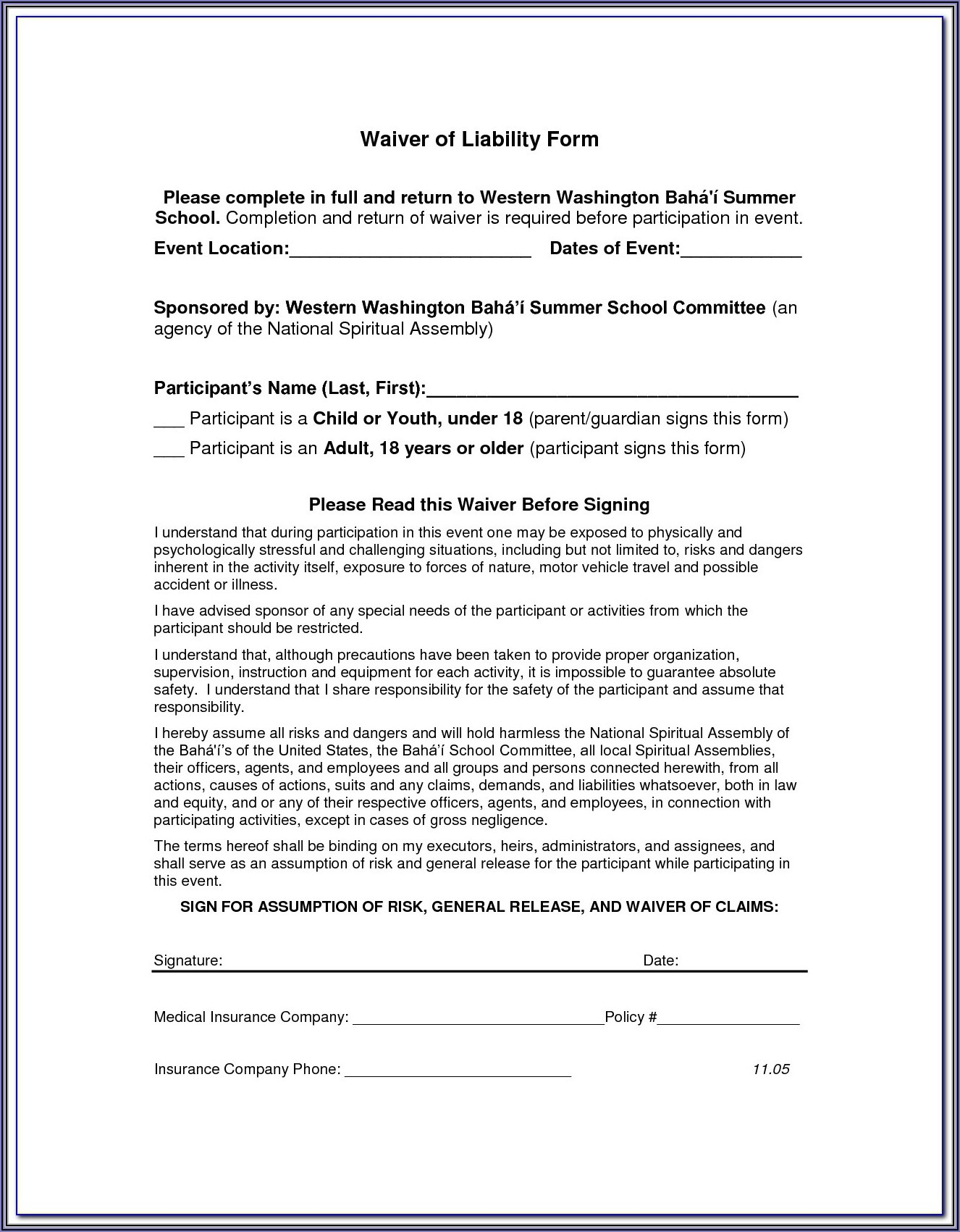 Accident Private Settlement Form