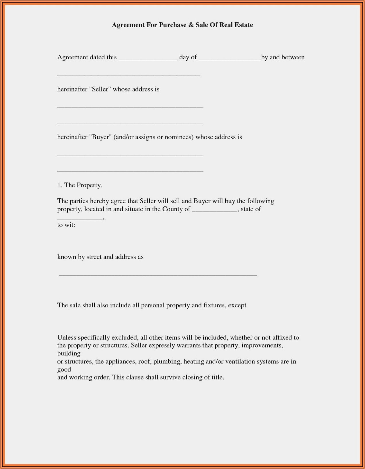 Agreement To Sell Property Form