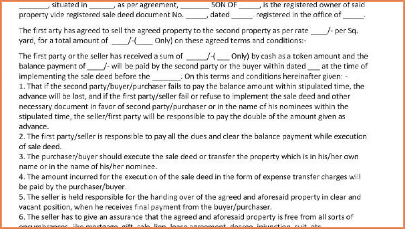 Agreement To Sell Property Format