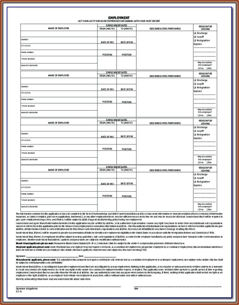 Aldi Grocery Store Application Form