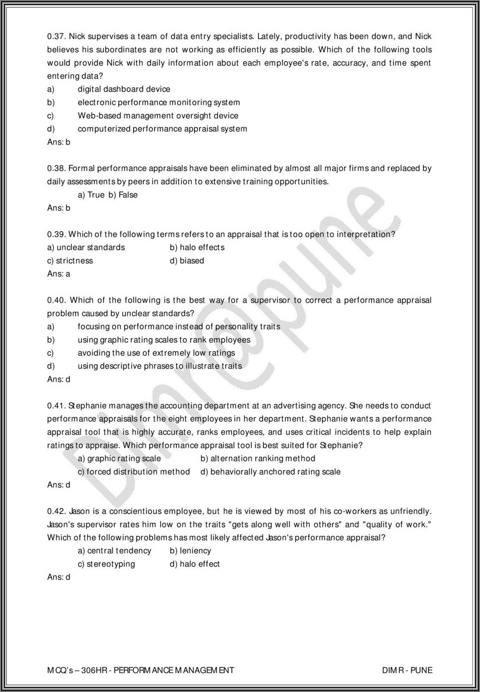 Annual Performance Appraisal Form Answers
