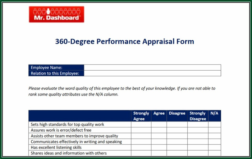 Annual Performance Appraisal Form Sample For Employees