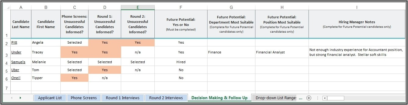 Applicant Tracker Excel Template