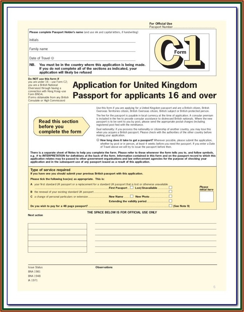 Application Form For Lost Or Stolen Passport