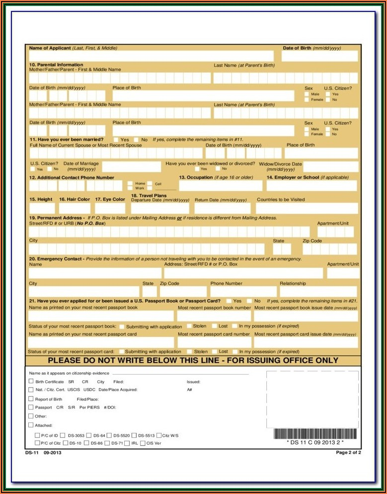 Application Form For Lost Passport