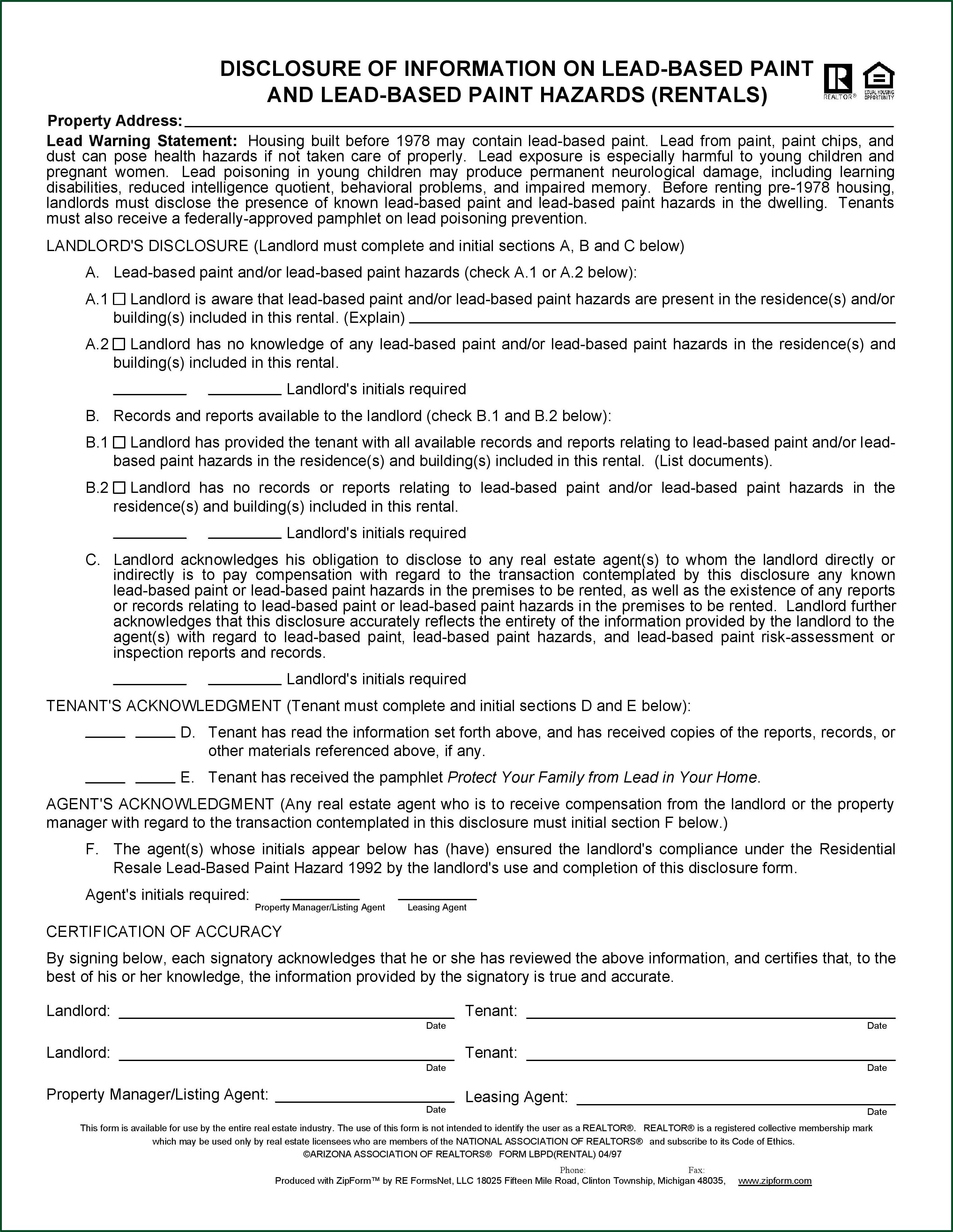 Arizona Real Estate Disclosure Form