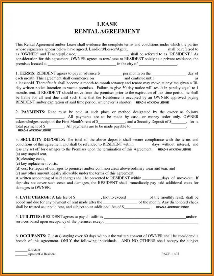 Arizona Renters Agreement Form