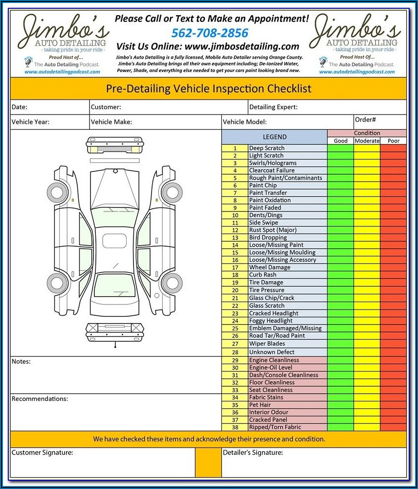 Auto Detailing Forms