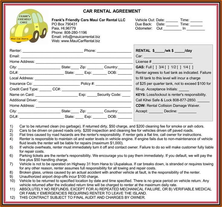 Az Rental Agreement Form