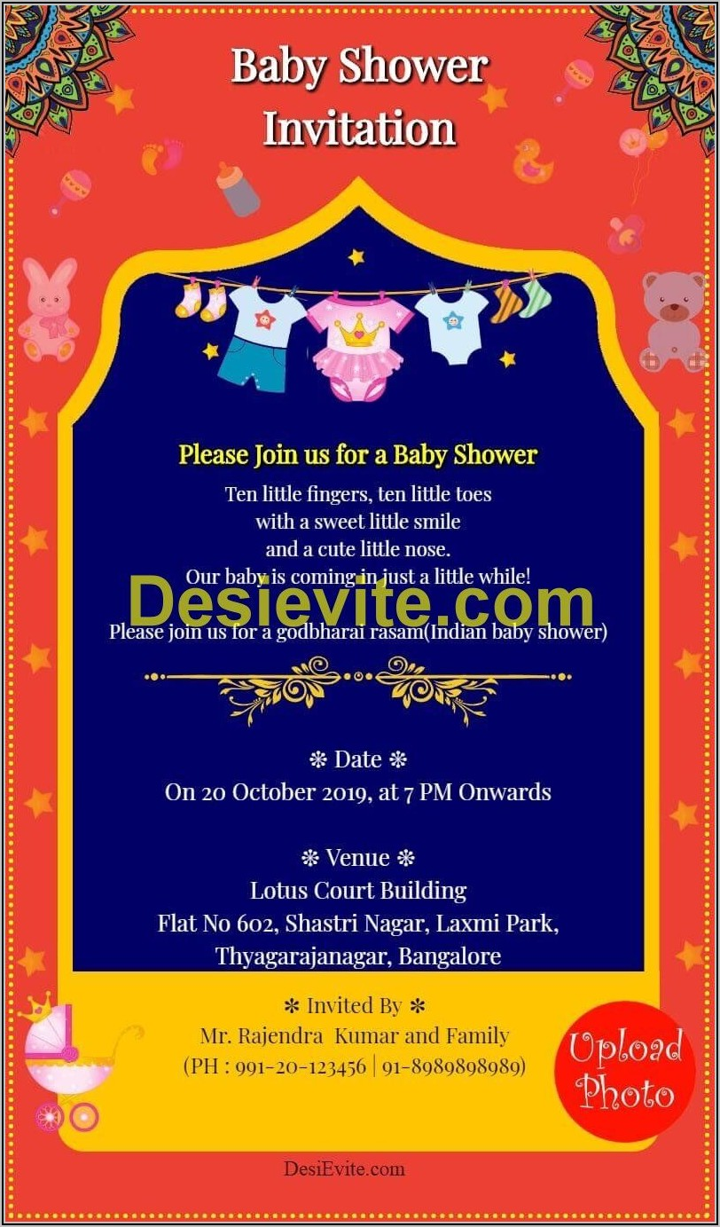 Baby Shower Invitation Templates Indian