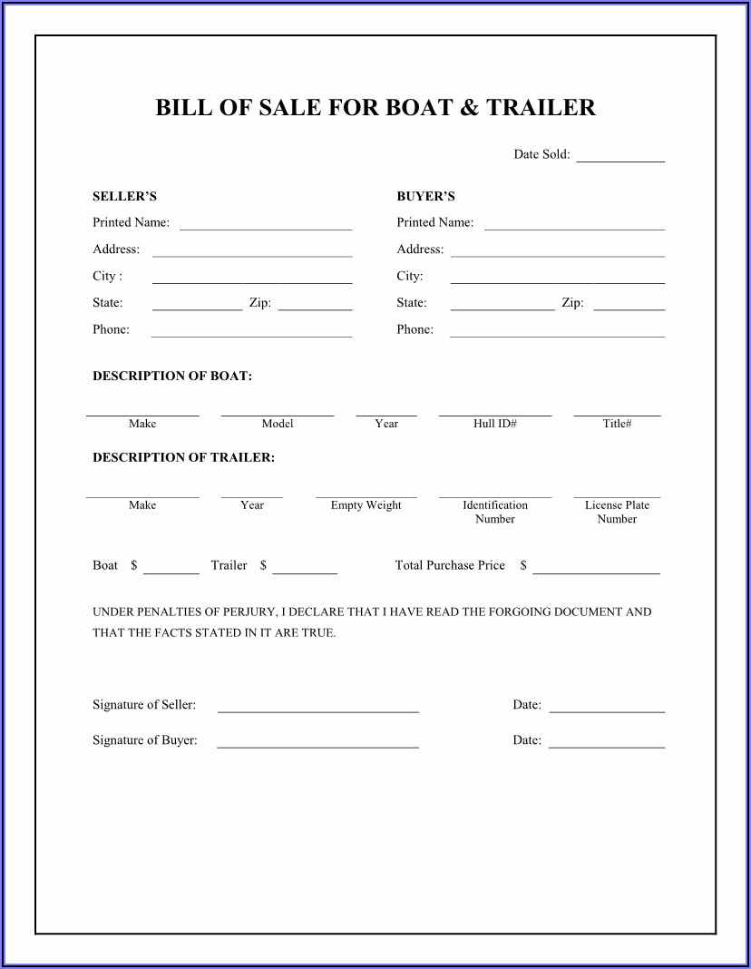 Bill Of Sale Template For A Boat And Trailer