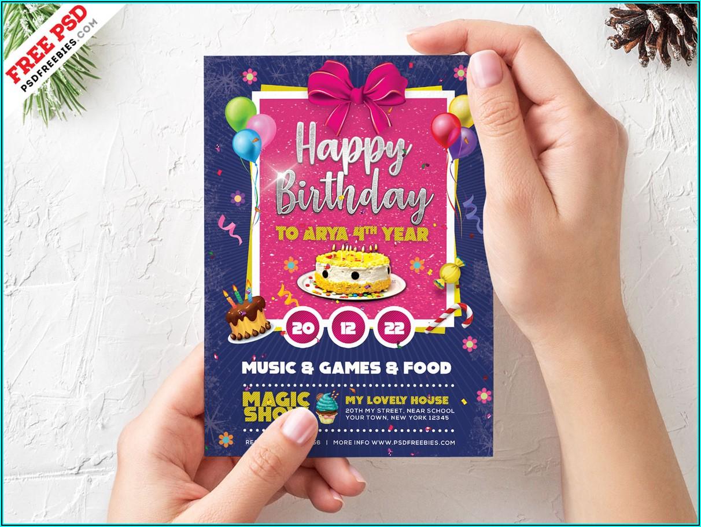 Birthday Invitation Card Template Photoshop Free Download