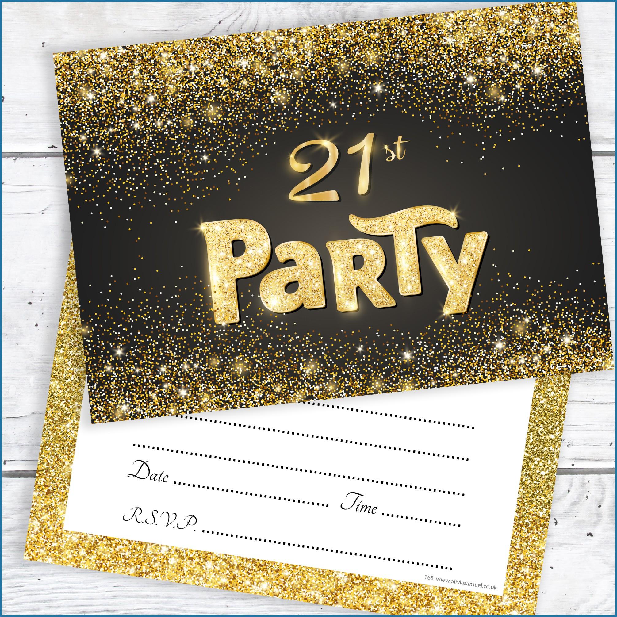 Black And Gold 21st Birthday Invitation Card
